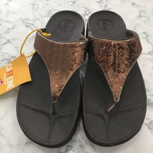 Womens FitFlop Electra Brown Sequin Sandals 10 NWT